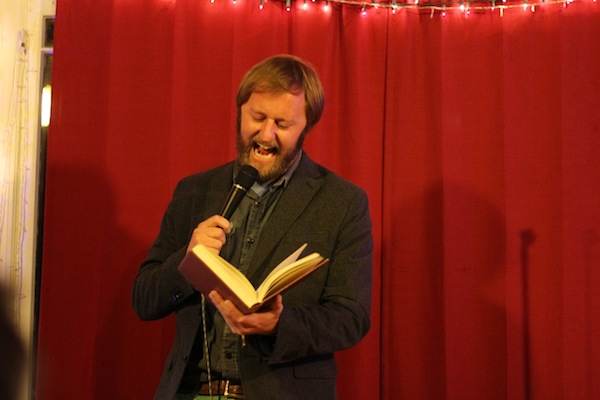 "Rory Scovel's ""hip exorcism"", complete with holy fake bible."