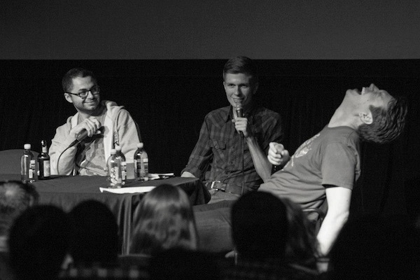 "L to R: Joe Mande, Chris Thayer, Pete Holmes. Live ""You Made It Weird"" taping at Riot LA Festival."