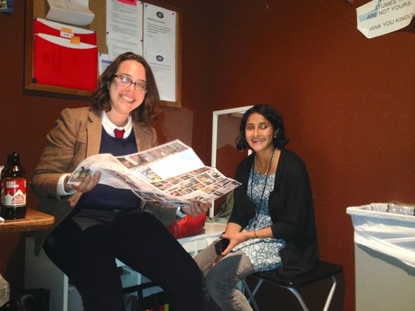 Janine Brito and Aparna Nancherla hanging in the greenroom.
